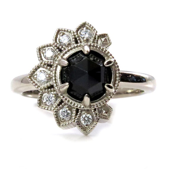Diamond Eclipse Ring - 14k Palladium White Gold - White Diamond Crescent with Black Spinel or Black Diamond