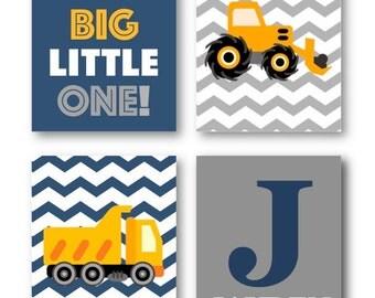 Art for Boys - Construction Nursery Decor - Construction Wall Art - Construction Trucks Art Prints - Boys Wall Art - Four PRINTS ONLY