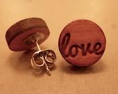 Love Studs: Wooden Handwritten Love Earrings, Wooden Plugs, Fake Plugs, Love Earrings, Love Studs, Love Jewelry, Romantic