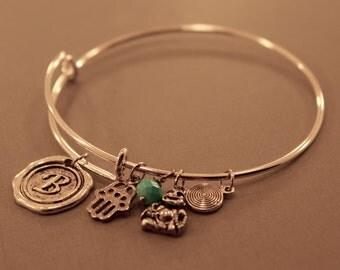 Charm Bangle: Adjustable Karma Charm Bracelet, Karma Bracelet, Yoga Jewelry, Initial Charm, Buddha, Charm Bracelet