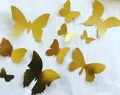 Metallic Gold 3d Paper Wall Butterflies, 3d paper wall art, nursery decor, yellow gold paper butterflies