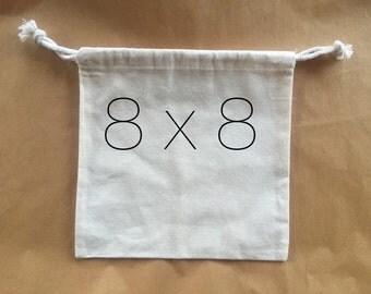 8x8 Muslin Bags, Muslin Favor Bags, Party Favor Bags, Muslin Party Favor Bags, Unbleaced Muslin Bags, Drawstring Bags