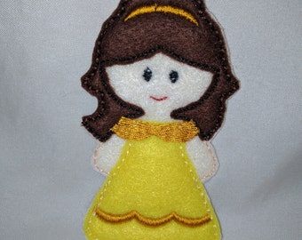 Belle Princess Felt Finger Puppet