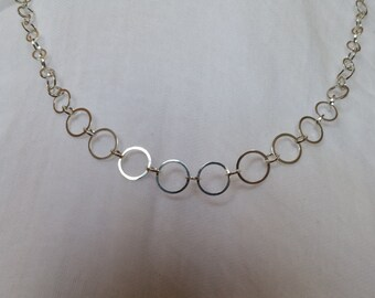 Unique Crop Circle inspired Handmade Sterling Silver Graduated Link Chain