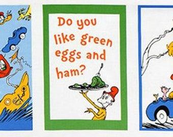 END of BOLT A ~~ 11inches 1x5 blocks ~~ Green Eggs and Ham Panel Dr Seuss Fabrics Robert Kaufman Sam I Am Book Scenes