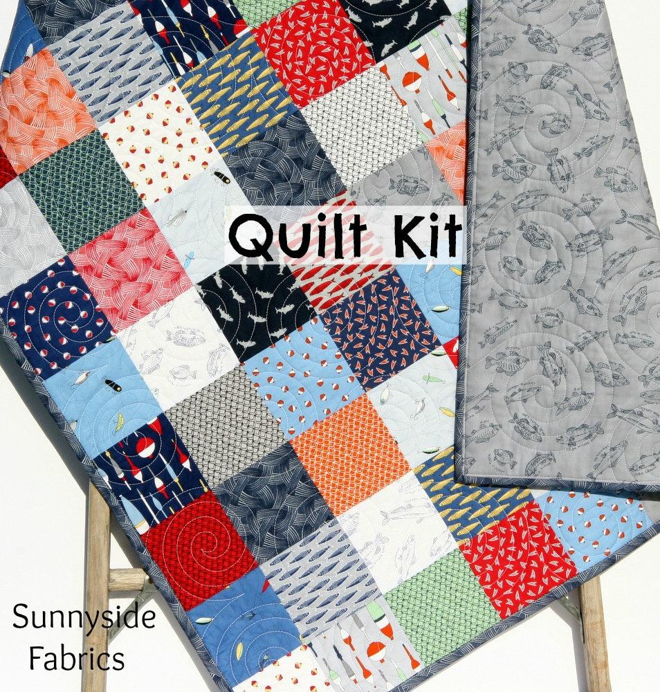 Fishing Quilt Kit Fishline Maywood Studio Fabrics Navy