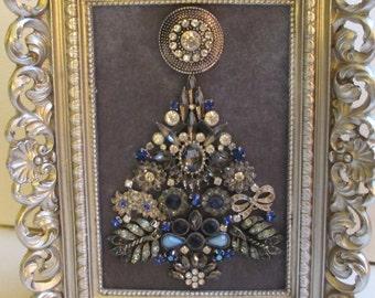 Jeweled Framed Jewelry Art Christmas Tree Silver Gray Blue Navy Vintage Art Deco