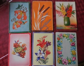 Vintage 1940s to 1950s Playing Cards Blue/Red Flowers and Two Blank Back Scrapbooking Repurpose Floral Reuse Altered Art Set of Six (6)