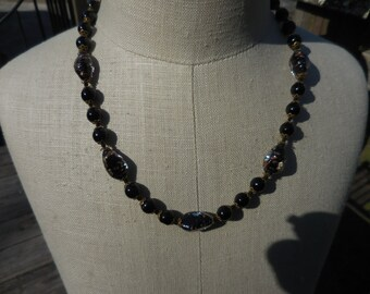 Vintage Black Glass Gold Specs Venetian Beaded Brass Bead Caps Knotted Short Necklace 1930s to 1950s