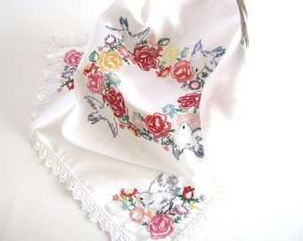 Vintage White Tablecloth Table Topper with Handmade Blue Bird Design Embroidery in Multiple Colors with Crocheted Trim