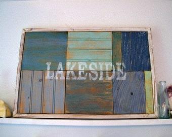 "Handmade ""Lakeside"" Distressed Beach Sign"