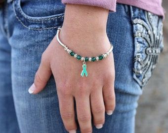 Green Ribbon Crystal Awareness Bracelet // Cerebral Palsy, Tissue/Organ/Stem Cell/Bone Marrow Donation, Kidney Disease, Adrenal Cancer