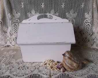 Vintage wood Sewing chest, sewing box, shabby white, rustic chic
