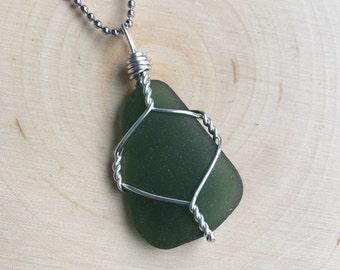 The Sea Turtle- Dark Green Sea Glass Pendant
