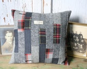 Wool Patchwork Pillow Cover - Recycled Tartan Wool, Gray Tweed, Wool 14 Inch - FREE SHIPPING