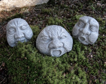 rock faces three concrete garden rocks garden decor pot sitter flower pot - Concrete Garden Decor