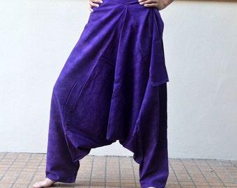 Purple Swirl Cotton Pants Trousers Hippie Boho Harem Aladdin Ninla Pants PAD-2