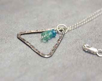 Geometric Necklace Silver Triangle Necklace Blue Ombre Necklace Apatite Necklace.