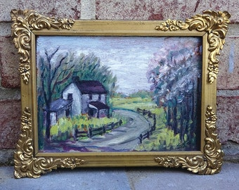 Vintage Small Original Plein Air Landscape Oil Painting on board -- Signed F.L.