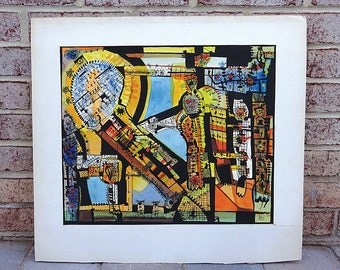 Mid Century 1957 Modern Abstract Mixed Media Painting by listed artist Jesse Soifer