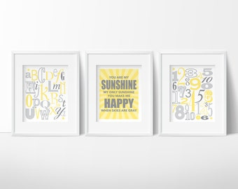 INSTANT DOWNLOAD, you are my sunshine wall art, yellow and gray nursery, PRINTABLE Nursery wall art, baby shower gift, alphabet nursery