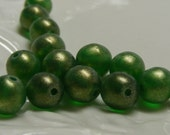 20 ea. Matte sueded gold emerald 6mm round Czech glass beads . (bk0500)