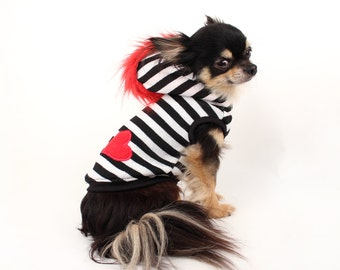 Dog Clothes Striped dog sweater with mohawk and heart applique punk clothes for pets