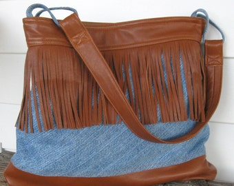 Recycled Leather and Denim Hobo Handbag - Hippie Fringe - Upcycled Caramel Brown Leather