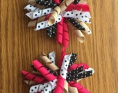 Leopard Chic Set of Large  Korker Bows, Hair Bows, Girls, White, Khaki, Dark Pink, Black,  Everyday wear, Baby, Toddlers, Dots, Stripes,