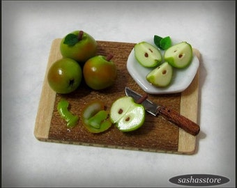 Miniature prep board with apples being cut and peeled, dollhouse 12th scale miniature food