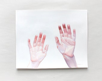 """8x10"""" gouache painting - """"Two Hands"""""""