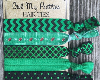 FOE Elastic Hair Ties Black and Green Football Collection Toddlers Girls Women -Set of 5-