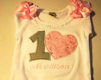 girls 1st birthday onesie only......with grey #1 with light pink sparkle heart applique