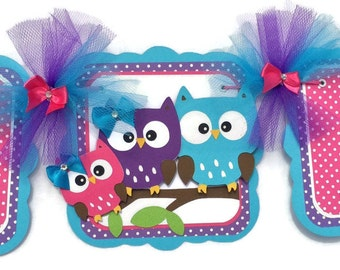 Owl family banner, owl banner, owl baby shower, it's a girl banner, turquoise, purple and pink, baby shower banner, photo prop, table banner