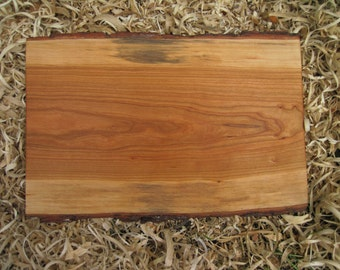 Natural Edge Cherry Wood Cutting Board Wood centerpiece Bark Edge Cherry Wood Cutting Board All Natural Eco Friendly Food Serving Tray