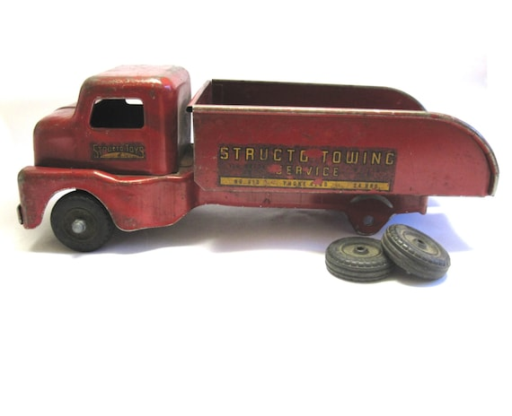 Structo Toy Truck Pressed Steel Towing Service By