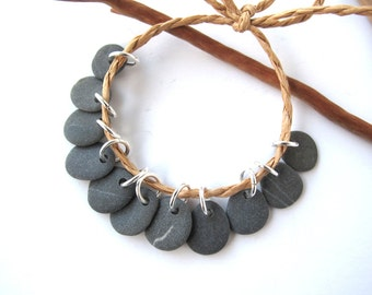 Rock Beads Small Mediterranean Natural Stone River Stone Jewelry Supplies Pairs MISTY GRAY CHARMS 11-12 mm