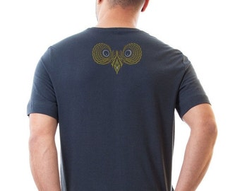 SALE 20% OFF ON Sale Owl T-shirt For Men, Grey Cotton T shirt, Graphic Tees, psychedelic Owls, animal on shirt  S / M / Xl