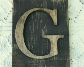 Large Wood letter G Hanging letter sign- Monogram letter READY TO SHIP G