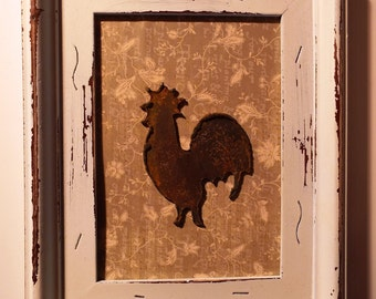 Vintage Style Cottage White Tin Framed Rusty Rooster Kitchen Art