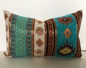 Ethnic Tribal Style Chenille Upholstery Pillow Covers in Aztec Navajo Geometric Design Kilim Fabric
