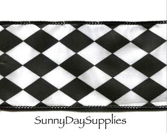 Diamond Pattern Black and White Ribbon, Checker Board, Wide and Wired, 3 YARDS, 2.5 in. wide, 100% Polyester, Diamond Print Ribbon,