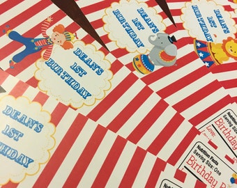 Circus Themed Water Bottle Labels