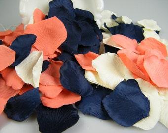 Coral Ivory & Deep Navy Blue Artificial Rose Petals | 500 | Flower Girl Basket Petals | Coral and Navy Wedding | Table Scatter