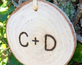 Personalized Wooden Tree Slice Christmas Ornament / Holiday Decor Wedding Gift