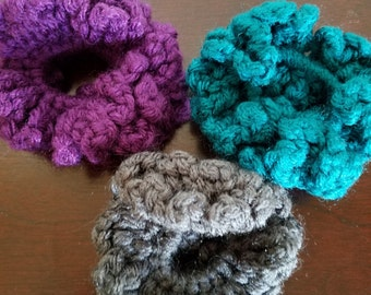 Modern Ponytail Holders Crocheted in Heather Grey, Teal and Plum