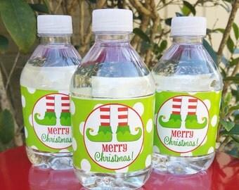Christmas Elf Feet Water Bottle or Drink Wraps Printable - Instant Download - Elf Feet