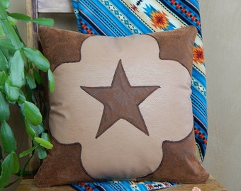 Western Star Pillow, Tooled Faux Leather Pillow with Corners