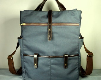Hudson Backpack in Gray Canvas and Dark Brown Leather / Laptop Bag/ School Bag / Mens Bag