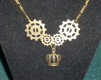Gear and Crown Necklace